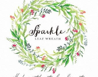 Watercolor  Leaf wreath-Sparkle/Individual PNG files / Hand Painted