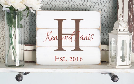 Custom Name Last Name Sign Rustic Home Decor Wedding