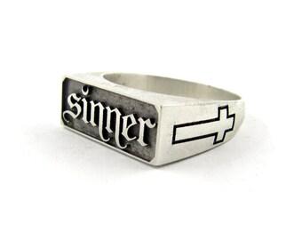 Pentagram ring, Satanic ring, Inverted cross ring, Biker ring, Occult ring, Gothic ring for men, Pagan ring, Satanic jewelry, Gothic jewelry