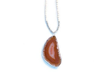 Agate Necklace, Long Brown Agate Slice Necklace, Cream Boho Bead Necklace, Rust Agate Slice, Orange Agate Necklace