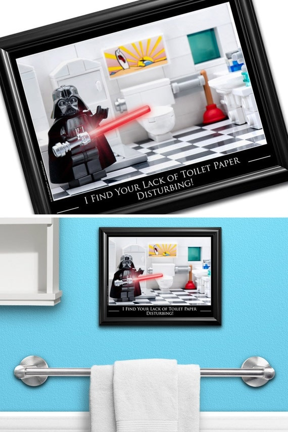 Star wars bathroom wall art funny bathroom by sillybrickpics for Star wars bathroom ideas