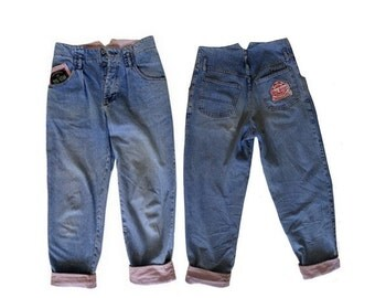 80s super HIGH WAIST jeans // distressed  & pleated drop waist // size :eu 36 - uk8- us 4