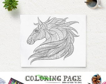 Printable Animal Coloring Pages Horse Pattern Page Adult Book AntiStress Art Therapy Instant