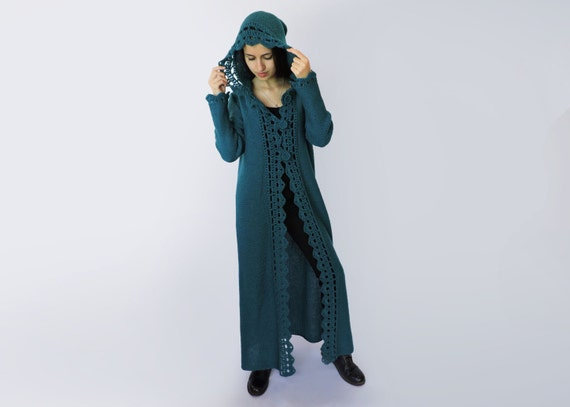 Hooded cardigan women Duster coat Extra long womens sweaters