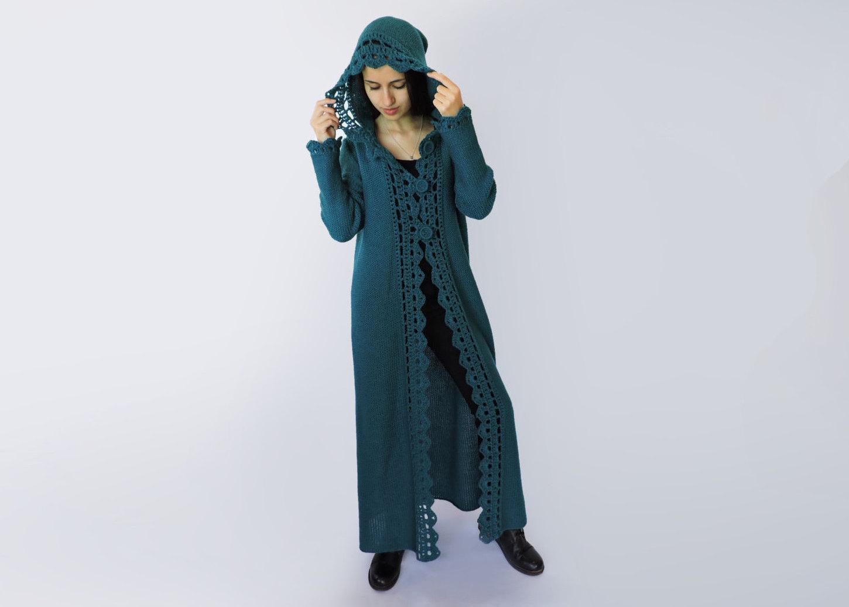 Hooded cardigan women Duster coat Extra long womens sweaters