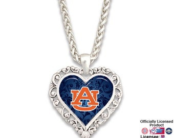 Auburn Tigers Ornate Heart Necklace - AUB57440