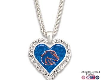 Boise State Broncos Ornate Heart Necklace - BSU57440