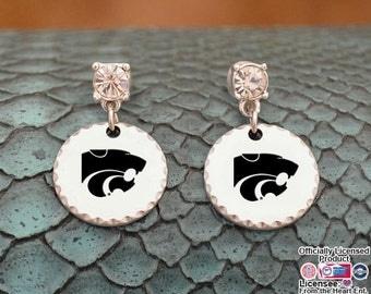 Kansas State Wildcats Stamped Logo Earrings