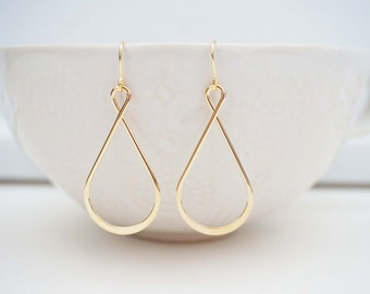 Gold Twist Teardrop Earrings