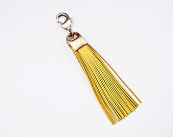 Yellow Leather Tassel Keychain