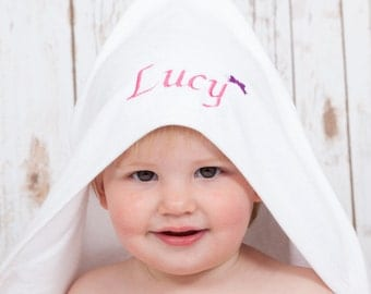 Personalised Baby Towel, Hooded Towel with Pretty Bow, New Baby Girl Gift