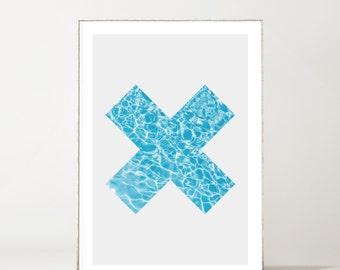 Minimalist Swimming Pool Cross Print
