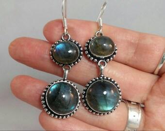 Stunning Sterling Silver Blue Fiery Labradorite Dangle Earrings