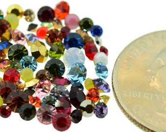 Swarovski Rhinestone Mix Lot Odd Colors Chaton Round Sizes 2mm-4mm 144 Piece  1 Gross Vintage Design Repair