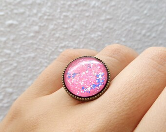 Gummy Pink Adjustable Ring Pastel Lolita Ring Pastel Goth Ring Sweet Lolita Jewelry Decora Ring Fairy Kei Ring Harajuku Jewelry Kawaii Rings