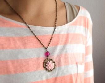 Resin Flower Pendant Necklace Blush Pink Necklace Magenta Jewelry Faux Flower Necklace Resin Floral Jewelry  Resin Flower Necklace for Women
