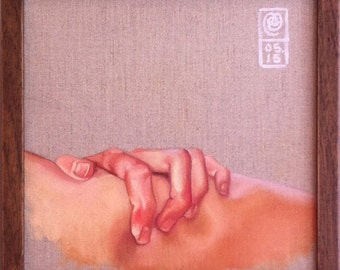 Grip. An original framed oil painting on stretched linen of hand on skin by Mel Evans. 350mm x 350mm.