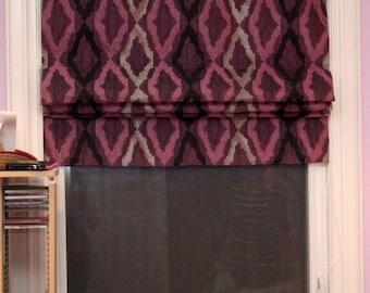 "Flat Roman Shade ""Masi"" with chain mechanism, Roman Shades, Window Treatment, Custom Made"