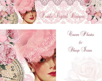 2 PC Cover Photo and Shop Icon, Instant download, Blank,Fanny In Feathered Hat, pink roses, butterflies, lace, clock pin up, damask vintage