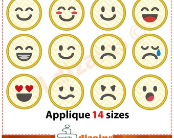 Emoji Applique Design Set. Emoji embroidery design set. Emoji embroidery. Emoticons applique. Smiley embroidery. Machine embroidery design