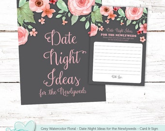 Bridal Shower Game Date Night Ideas for the Newlyweds Card and Sign, Date Game, Instant Download, Printable, Grey Watercolor Floral, 006A