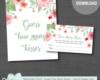 Guess How Many Kisses Game Card and Sign, Bridal Shower, Baby Shower, Instant Download, Printable, Kisses Game, Printable Kisses, 002A,005A