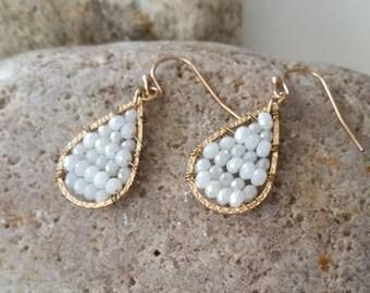 Teardrop earrings, Glass beaded earrings, Hook earrings
