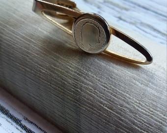 Vintage Gentleman's Silhouette Tie Clip/Clasp 1960's Gold Tone Metal.