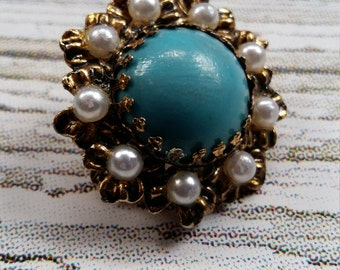 Vintage Gorgeous BohemianTurquoise Stone and Faux Pearl 1960's Brooch on a Gold tone Mount.