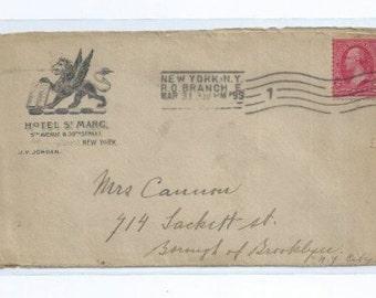 Hotel St. Marc 5th Ave & 39th St J. V. Jordan, Proprietor Postmarked New York / Brooklyn N.Y. MAR 31 1899 - Made in USA