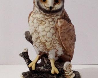 Vintage Barn Owl On Top Of Log Ceramic Figurine