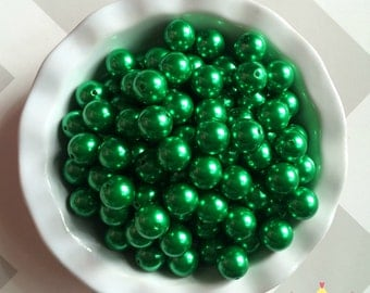 20mm Dark Green Christmas Green Chunky Beads Bubble Gum Pearls (A74)