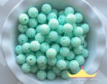 20mm Wintergreen AB Rhinestones Chunky Bubble Gum Beads Set of 10
