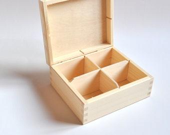 Unvollendete Holz-Box mit 4 Fächern. Teebeutel-Holzkiste. Schmuck-Box. Unlackiertes Holz Tee Box. Hölzerne Aufbewahrungsbox. Decoupage-Box