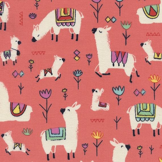 Coral Llama Fabric Yardage Funny Farm Timeless Treasures