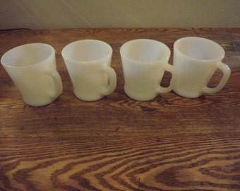 4 Fire King D-handle white mugs 1950's