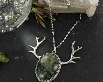 Jasper necklace - Antler necklace - Deer necklace - Handmade