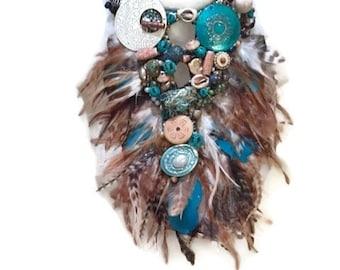 SEA WARRIOR  feather fringe huge super statement statement bib collage necklace