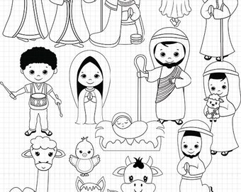 Nativity Line Art Digital Stamps Black And White Christmas Coloring Jesus Clipart