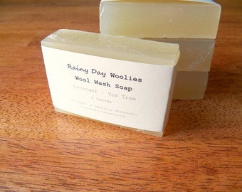 Wool Wash Bar with Lavender and Tea Tree Oil - Lanolin Soap for Wool Care -  Organic Glycerin Wool Wash for Diaper Covers / Wool Soakers