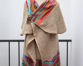 Colorful poncho, Wool Cape, Stripe poncho, Cape coat, Knit poncho, Wool cape, Weaved cape shawl, hand loom Cape, Meander pattern