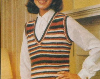 Knit sweater vest striped and matching jacket pattern vintage 1983 1980s
