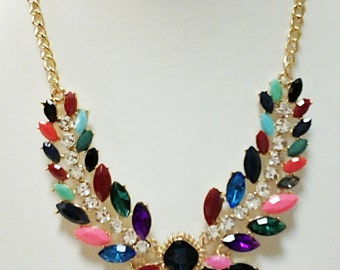 Gold Chain Crystal Clear Rhinestones Necklace / Multi Colored Beads Necklace / Bib Necklace.