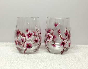 Cherry Blossoms Hand Painted Wine Glasses (Set of 2)