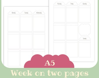 Weekly planner -  BOX planner weekly - Printable for A5