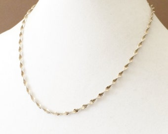 Sterling Silver 2 Tone Gold Plated Twisted Herringbone Necklace 18""