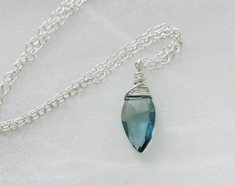 London Blue Topaz Necklace, Sterling Silver Necklace, London Blue Topaz Necklace