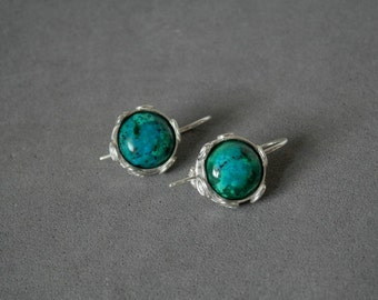 Turquoise and sterling silver earrings, Turquoise silver earrings, Unique silver earrings, Israel jewelry, Silver Dangle Earrings