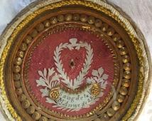 Antique Handmade Reliquary SANG de la V. M. Anne de S.B. - Anne of Saint Bartholomew Gold Paper Rolls Decoration