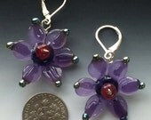 Secret Garden Earrings in purple: handmade glass lampwork beads with sterling silver components